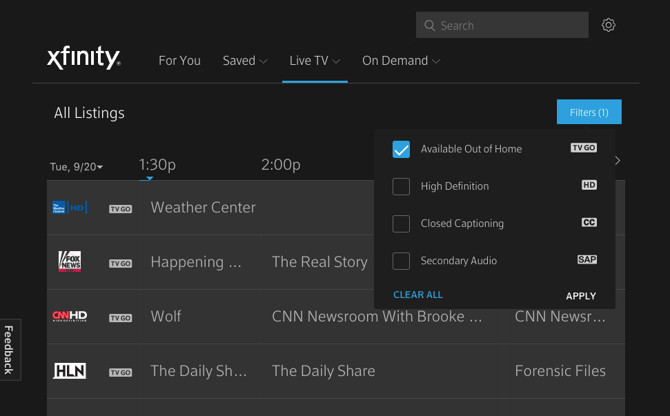 TV Go for Live Channels – XFINITY On Campus